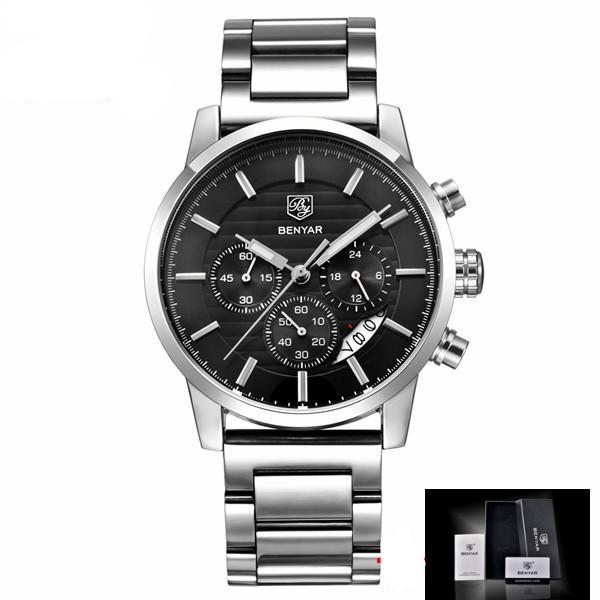 Men's Sports Chronograph Quartz Watch with Leather & Stainless Steel Strap Mens Watches - Ecodesignstore