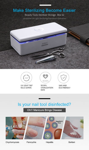 UV Sterilizer Box Beauty Tools Sterilizer Storage Box S2 Portable Disinfection Box for Salon Nail Art Tools Nail Equipment Sterilizer - Ecodesignstore