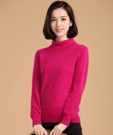 Women's cashmere high collar turtleneck sweater Womens Cashmere Sweater - Ecodesignstore