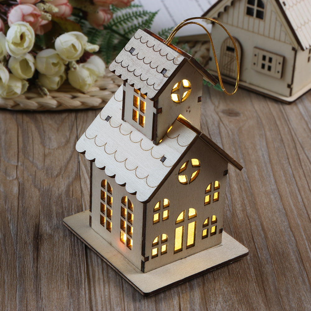 1PC Festival LED Light Wood House Christmas Tree Hanging Ornaments - Make your tree unique with these elegant detailed ornaments  - Ecodesignstore