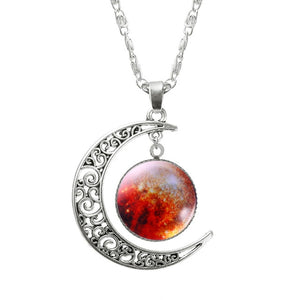 Necklace Glass Galaxy Pendant with Silver Chain Moon Necklace Womens Necklace - Ecodesignstore