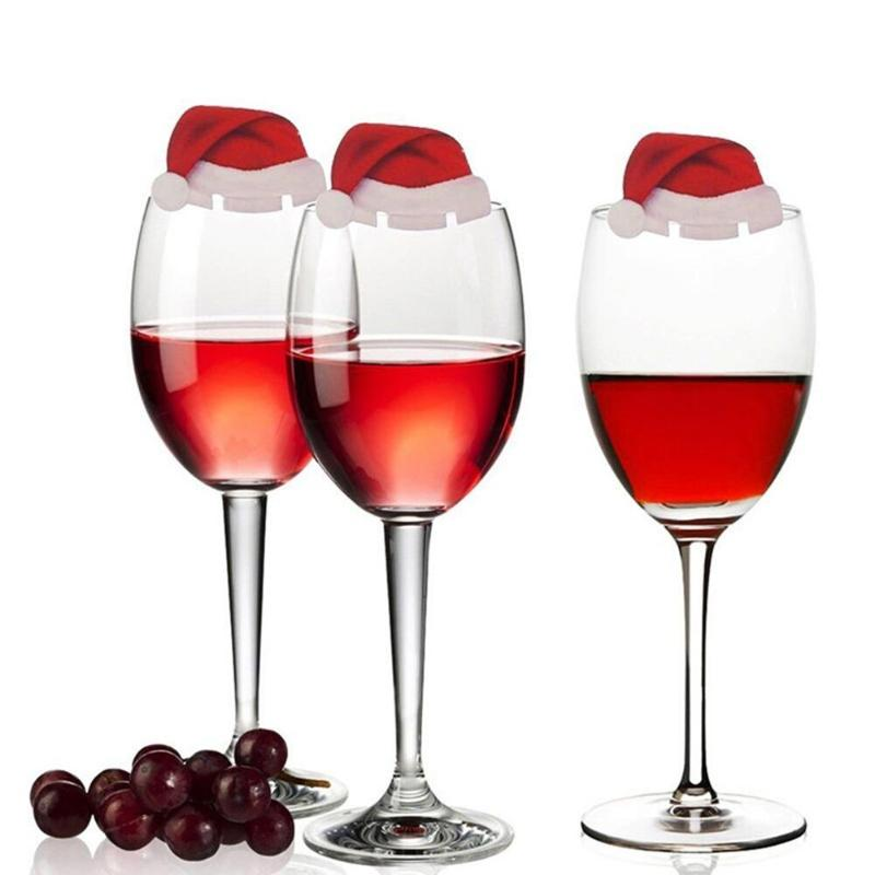10Pcs/Lot Christmas Decorations For Table Place Cards Christmas Santa Hat Wine Glass Decoration Christmas - Ecodesignstore