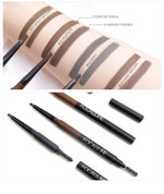 3 in 1 Auto Brow Pen Long-lasting 24 Hour Tint Shade Make Up Soft Smooth Fashion Eyebrow Pencil and Powder Womens Makup Brush - Ecodesignstore