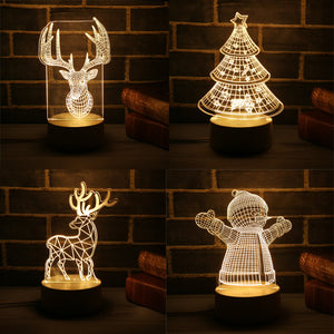 Christmas Tree Snowman 3D LED Lamp Night Light Xmas Party Decoration Christmas - Ecodesignstore