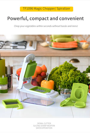 All in One Food Chopper Onion Chopper, Vegetable Slicer, Fruit Cheese Cutter with 4 Dicing Blades Kitchen - Ecodesignstore