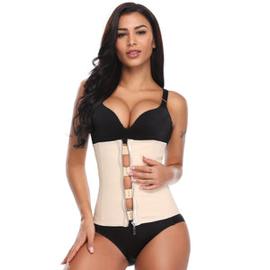 Latex Waist Trainer Body Shaper Corset with Zipper Slimming Belt Black Plus Size Womens Shapewear - Ecodesignstore