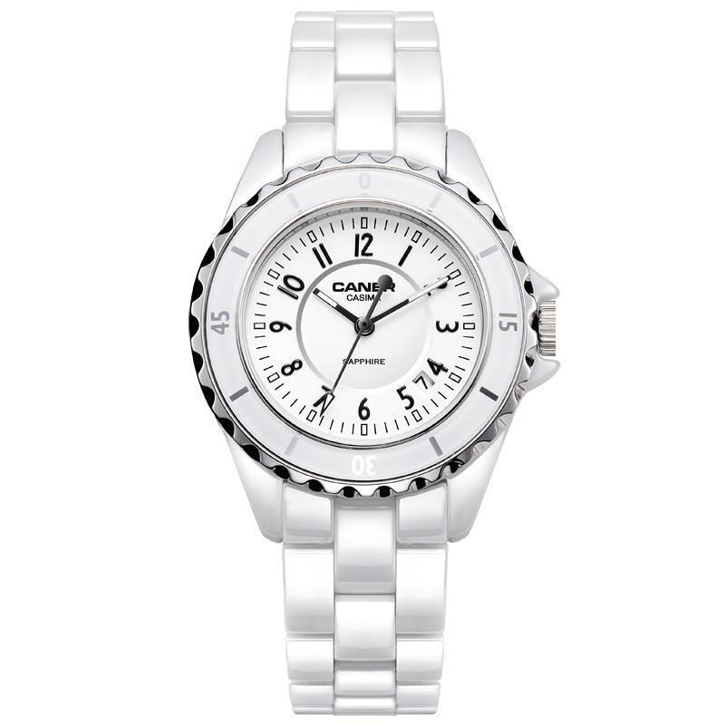 Elegant Ceramic White Quartz Women Watch - Sapphire Crystal window - Waterproof to 100m Womens Watches - Ecodesignstore