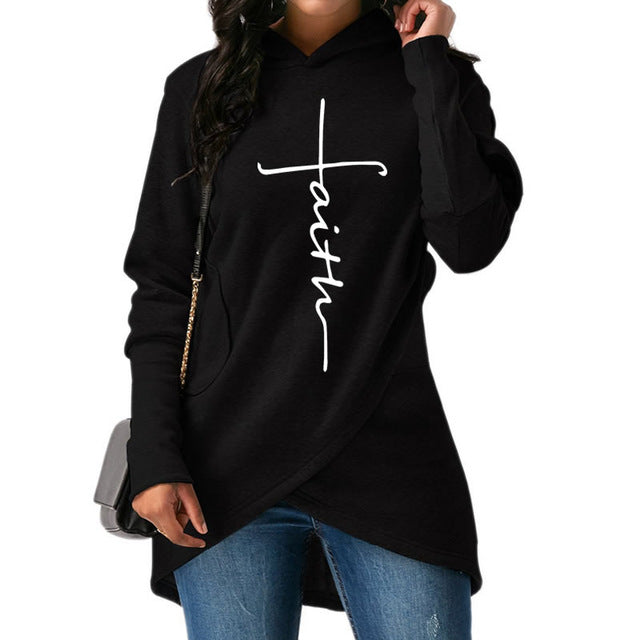 Faith Print Kawaii Women's Sweatshirt Hoodies with Pockets Creative Plus Size Womens Sweatshirt - Ecodesignstore