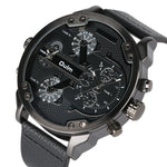 Men's Military Watch with Genuine Leather Strap Quartz Movement Mens Watches - Ecodesignstore
