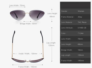 Women Rimless Cat Eye Sunglasses Gradient Lens UV400 Protection Womens Sunglasses - Ecodesignstore