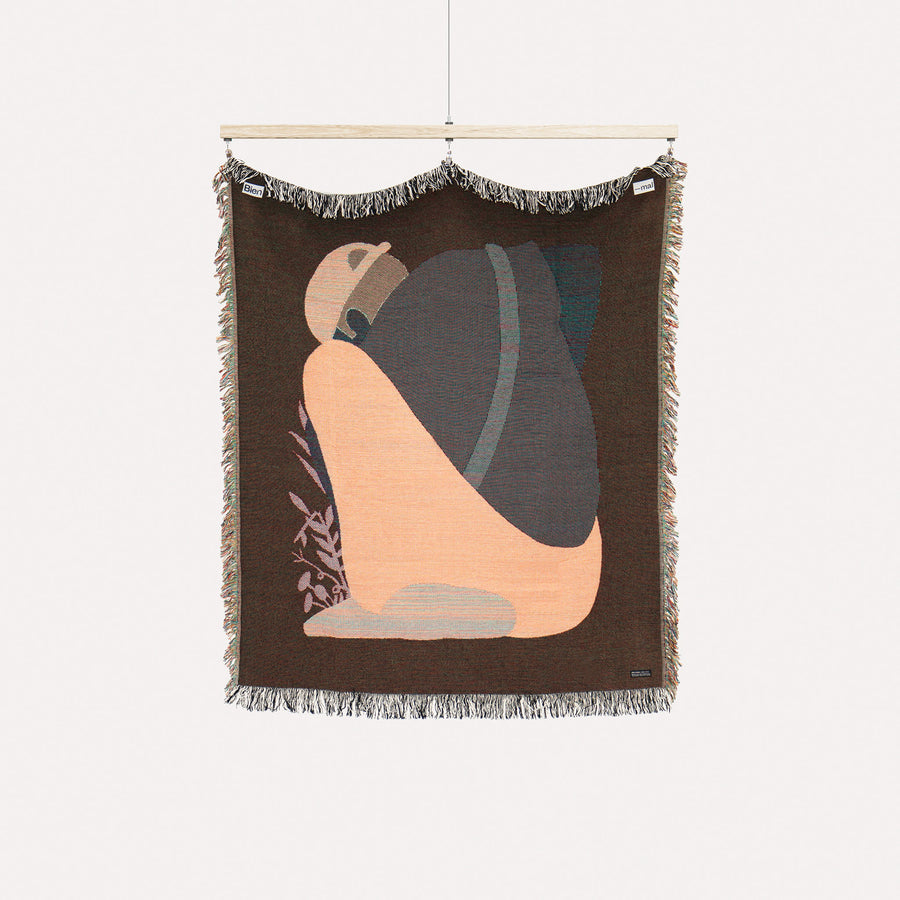 The Gatherer. Guy on a blanket. Cotton woven throw blanket, blue. Designed in Brooklyn, NY.