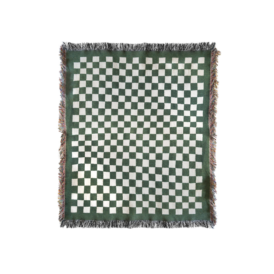 Green checkered blanket