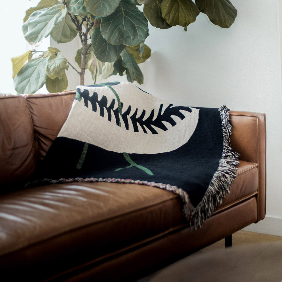 Dinosaur design blanket. Cotton woven throw blanket. Designed in Brooklyn, NY.