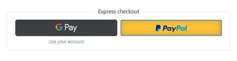 Express Checkout via Google Pay or Paypal
