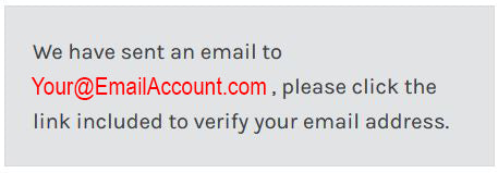 Notification of Email Sent for Account Verification