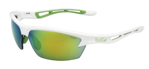B-CLEAR Trivex 11773 Bolle Men's Bolt Modulator Emerald Oleo AF Sunglasses-Shiny White/Green Edge, Medium