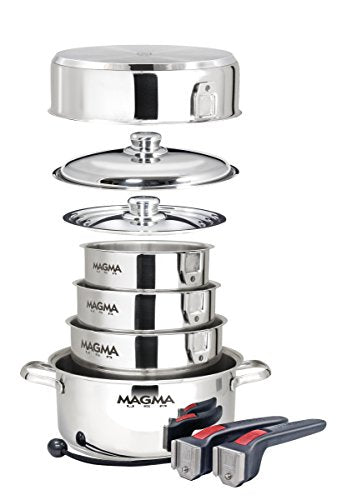 Magma 10-Piece Professional Series 18-10 Stainless Steel Gourmet Nesting Cookware Set, Chrome