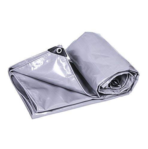 12-Huisongda Gray Tarpaulin Heavy Duty Waterproof Tarpaulin Truck Shed Cloth Tent Ground Sheet Covers Outdoor Camping Cover - 550g/m2,Thickness 0.4mm for Camping Outdoor Travel (Size : 6MX6M)