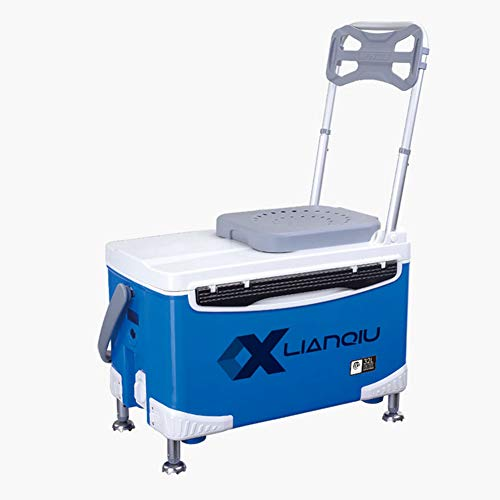 AKTET 32L Outdoor Portable Multi-purpose fishing box Thicken Aluminum alloy Backrest four-legged lifting(Single layer),Blue