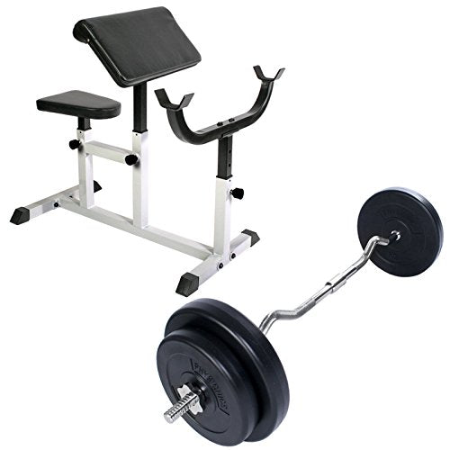 Arm Curl Preacher Bench Adjustable with EZ Curl Bar