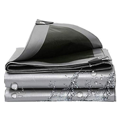 ACZZ Waterproof Thicken Tarpaulin Uv Resistant Windproof Anti-Aging | Awnings Cover Cloth | Tent Tarp for Hiking,Fishing,Camping, Hammock, Pool, Truck,Boat - Silver + Green,10m*10m