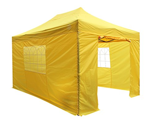 All Seasons Gazebos 3x4.5m, Heavy Duty, Fully Waterproof, Premium Pop Up Gazebo With 4 x Standard 100% waterproof Side Panels. With Wheeled carry bag and 4 x Upgraded leg weight bags. (Yellow)