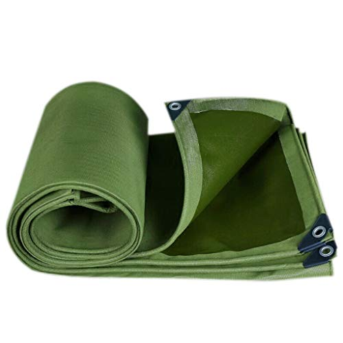 MRU Waterproof Tarpaulin Heavy Thick Canvas Outdoor Camping Sunshade Cover Awning Tent High Density Woven Polyethylene Breathable Soft Uv Protection,Various Sizes, Military Green,6 * 8M,