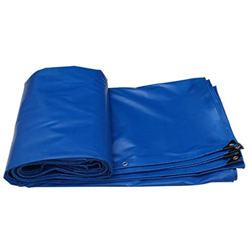 12-Huisongda Blue Tarpaulin-Multifunction Waterproof Heavy Duty Poncho Tarpaulin Made of 520g/m2 for Camping,Fishing,Gardening-100% Waterproof/UV Protected for Camping Outdoor Travel (Size : 6X5M)
