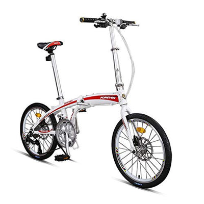 City Bike 20 Inch 16-Speed Commuter Bicycle Fold Aluminum Alloy Frame For Unisex Adult,-white
