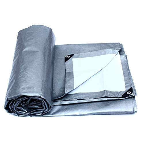MRU Tarpaulin Outdoor Fishing Camping Ground Sheet Cover Extra Large Waterproof Thin Section Soft Silver Double Waterproof Tarp Durable Tarpaulin Board Pickup Car Semi Trailer Tarpaulin Cover,Silve