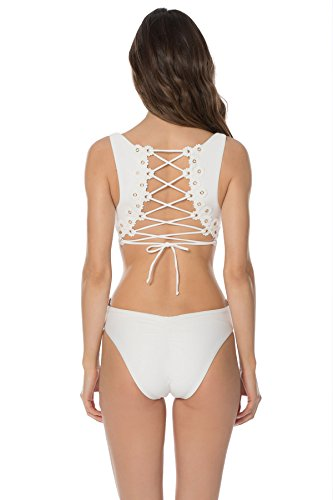 Isabella Rose Women's Set Sail Solids One Piece Tank Swimsuit White L