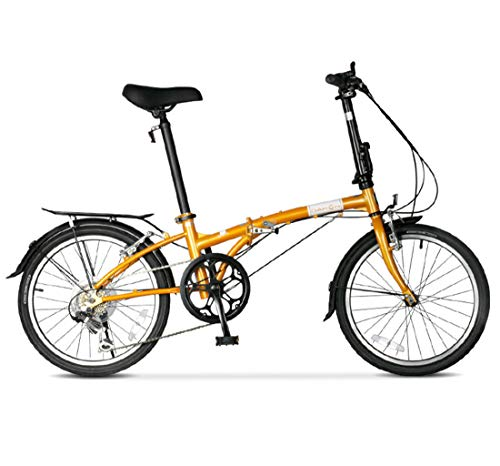 City Bike 20 Inch 6-Speed Commuter Bicycle Fold High Carbon Steel Frame For Unisex Adult,yellow
