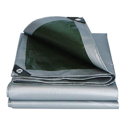 ACZZ Waterproof Tarpaulin Light Duty Outdoor Balcony Anti-Aging Waterproof Uv Resistant Wear-Resistant Tarp Cover for Tents Truck Roof Boat Wood Car Hiking Fishing-Silver,10m*12m