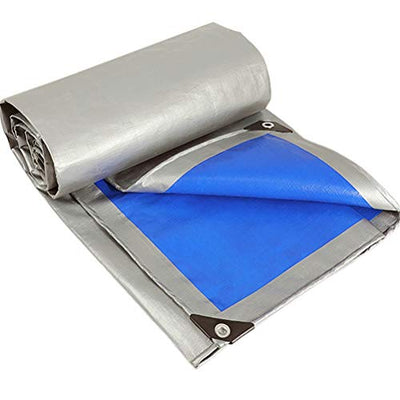 GFYWZ Heavy Duty Tarps, Silver/Blue UV Blocking Waterproof Tent Protection Cover, Laminated Coating, Tarpaulin in Many Sizes with Rustproof Eyelets,8m×15m