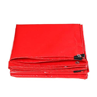 12-Huisongda Red Canvas Sunscreen Sunshade Tarpaulins in Poncho Family Camping Garden Outdoors,Thickness 0.4mm,500g/m2, 11 Size Options for Camping Outdoor Travel (Size : 5 * 5)