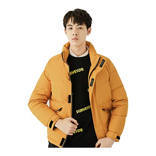Cotton men's white duck down jacket down jacket out thick padded coat outdoor jacket collar lapel short down jacket best gift (Color : YELLOW, Size : 2XL(185CM))