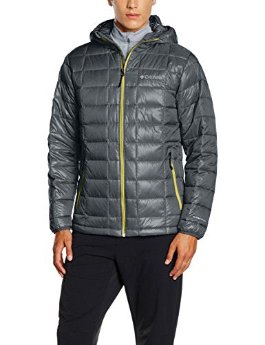Columbia Men's Trask Mountain 650 TurboDown Hooded Jacket - Graphite/Mineral Yellow, Large