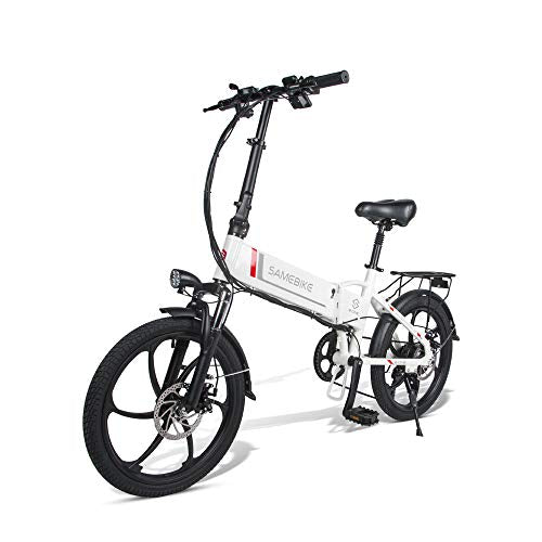 ANCHEER SAMEBIKE Folding Electric Bike with Removable 8AH Lithium Battery, Aluminum/Carbon Steel EBike with 20 inch Wheels and 350W Hub Motor