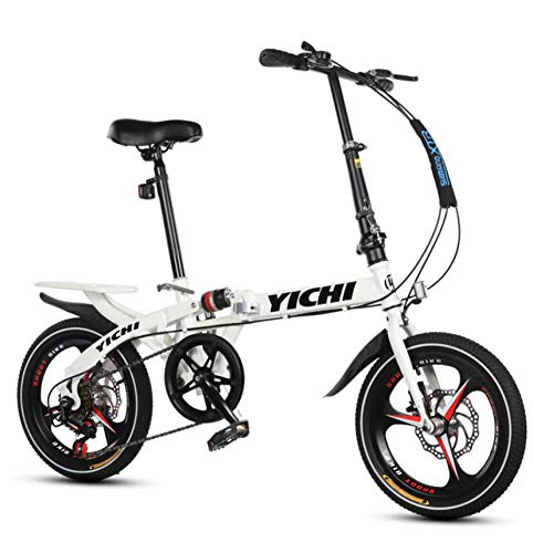 AOHMG Folding Bicycle, 7-Speed Foldable Bike Dual Disc Brake Aluminum Lightweight,White_14in