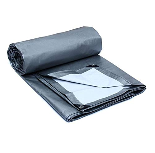 12-Huisongda Double Waterproof Tarpaulin Sheet Tarps 100% Waterproof and UV Protected Silver Outdoor Camping Cover - 175g/m2, Thickness 0.32mm for Camping Outdoor Travel (Size : 12MX10M)
