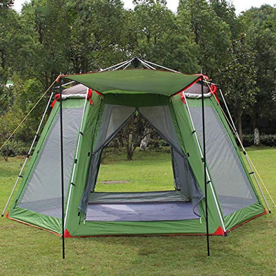 YFTM-OT Outdoor Camping Tent 5-8 People Telescopic Aluminum Alloy Camping Equipment,Green