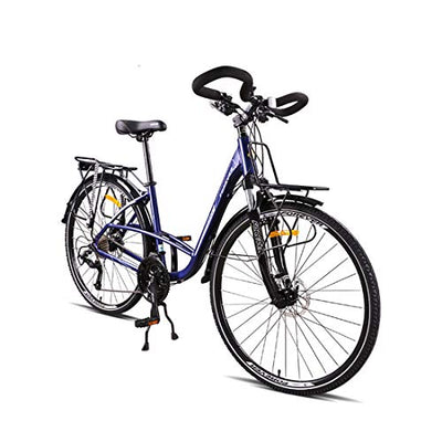 City Bike 30-Speed Fold Bicycle With Mechanical Disc Brake For Unisex Adult,blue