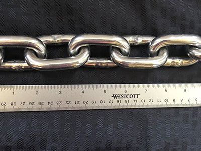 "Stainless Steel 316 Anchor Chain 13mm or 1/2"" by 15' long shackles"