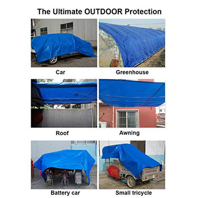 Blue Tent Tarp Cover Poly Tarp Cover with Tent Shelter Camping Tarpaulin Outdoor Rain Covers Drop Cloths for Yard Waste Shade Backpacking Camping Shelter Shade Ground Cover (Size : 10×20m)