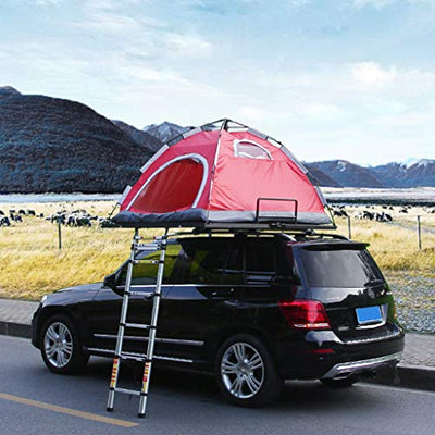 Fire cloud Multi-Functional Folded Tent, Self-Driving Travel 2 Person Car Top Tent, Aluminum Bracket Waterproof Sunscreen, Can Be Placed Luggage Spare Tire Frame(Red)