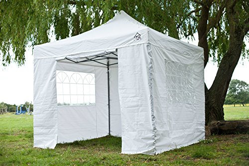 All Seasons Gazebos, 3x3m, White , Heavy Duty, Fully Waterproof, PVC Coated, Premium Pop Up Gazebo With 4 100% waterproof Side Panels (Same quality as the roof) Comes with Carry Bag With Wheels and 4 x Upgraded leg weight bags