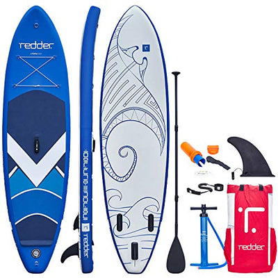 "redder Paddle Board Utopia 10'5"" x 31"" x 6"" All Round Inflatable Stand Up Paddle Board with Bravo SUP4 Double Action Hand Pump, 3 Piece 100% Carbon Paddle, 10' Leash, Portable Backpack and Repair Kit"