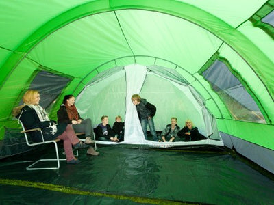 Skandika Kemi family Tunnel Tent with Moveable Front Wall, 2 Sleeping Cabins and a 3000 mm Water Column, Green, 6 PersonMan