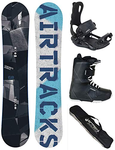 "Airtracks Snowboard Set/Skully Rocker Snowboard Binding Savage + Boots + SB BAG/152 152 - 4 "", Men, Snowboard Set/Skully Wide Rocker + Snowboardbindung Savage + Boots + Sb Bag/152 152 157 163 cm"