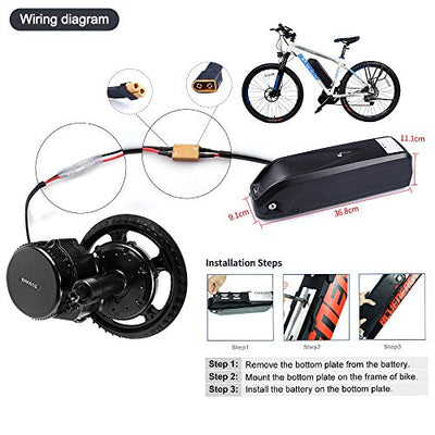 Junstar Electric Bike Battery Hailong 36V 17.4Ah Lithium Li-ion Battery Samsung 29E Cells with Charger with USB Socket